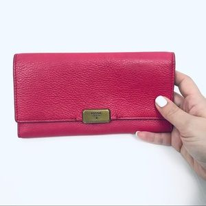 Fossil Pink Leather Billfold with Brass Hardware